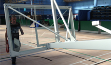 School climbing rope trackway installation fitness for Indoor basketball court installation