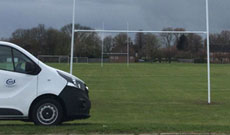Rugby goal post installation