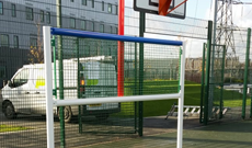 Steel anti vandal basketball & football MUGA combination unit.