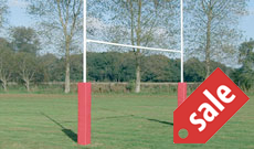 In ground steel socketed 6m high school rugby goalposts.
