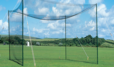 Roofed 2.7m (H) wooden pole cricket practice nets.