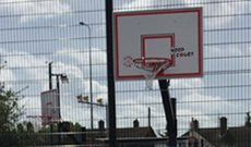 Senior outdoor steel full size in ground basketball match goals.