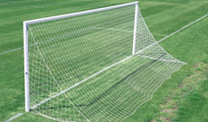 Pair of aluminium 7.32m x 2.44m socketed 3G Parks goalposts.