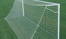 Pair of steel 7.32m x 2.44m ground socketed goalposts.