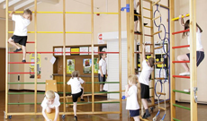 Folding wood wall mounted school PE gymnasium frames.