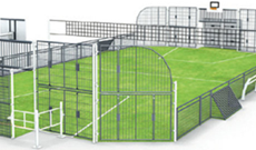 OMG 810 steel & coated mesh panel outdoor multi use games area.