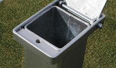 Galvansized steel ini ground tennis post socket.
