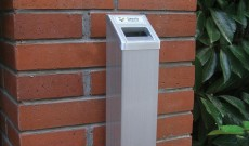 Stainless steel square smoking area cigarette bin.