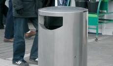 Public holbord stainless steel litter bin.