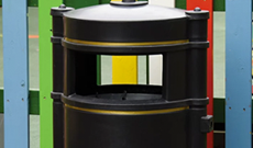 Standard PVC public use outdoor litter bin.