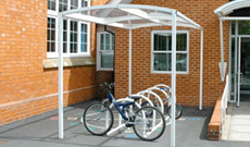 Budget single canopy bicycle storage shelter.