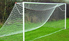 Steel in ground football goals.