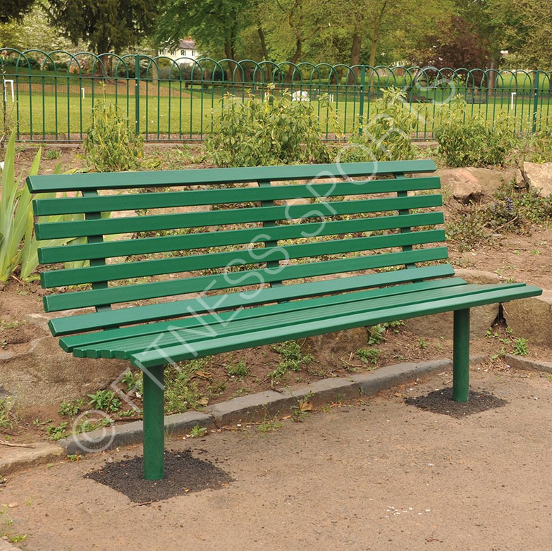 Slatted Steel Outdoor Park Bench Outdoor Public Seating