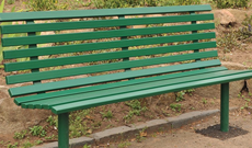 Anti vandal steel fixed public use park seating bench.