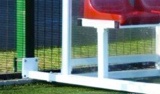 Set of aluminium sports shelter post fixing anchors.