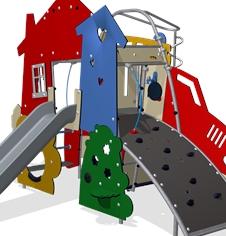 Themed playground play equipment