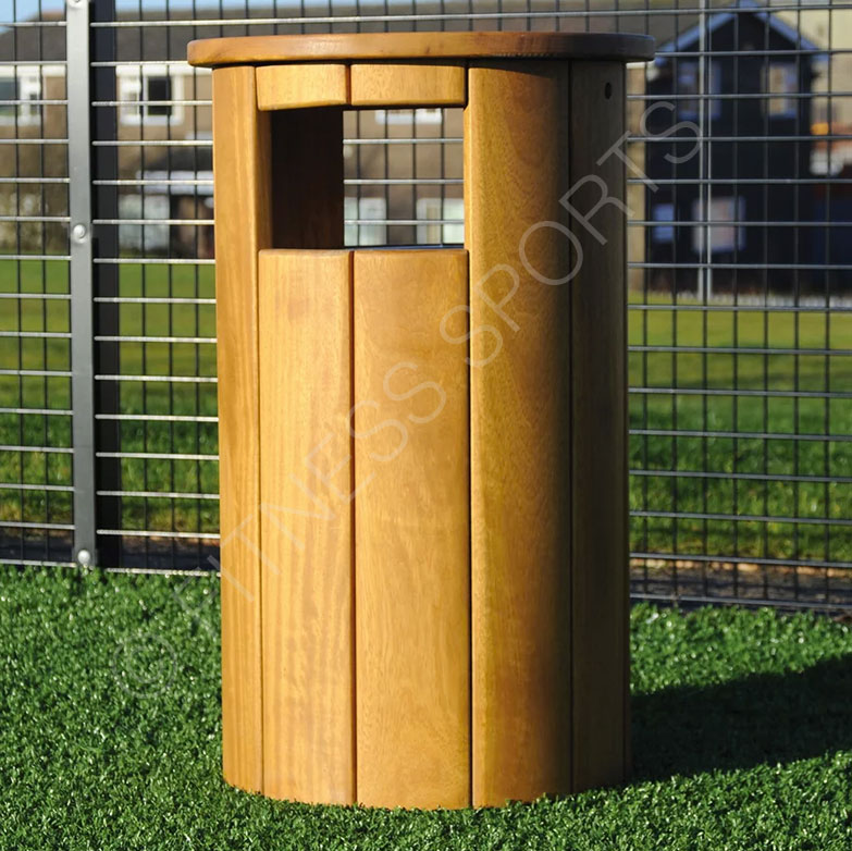 Round Outdoor Natural Wood Public Litter Bin Fitness Sports