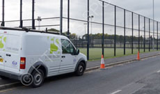 outdoor steel surround sports pitch fencing.