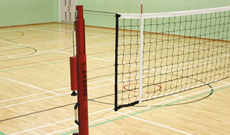 Ground socketed competition volleyball posts.