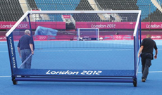 Competition integral weighted hockey goalposts.