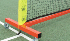 Mini tennis portable steel wheelaway posts.