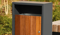 Natural timber open litter bin.