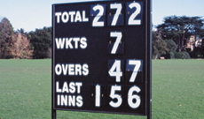Wooden cricket scoreboard