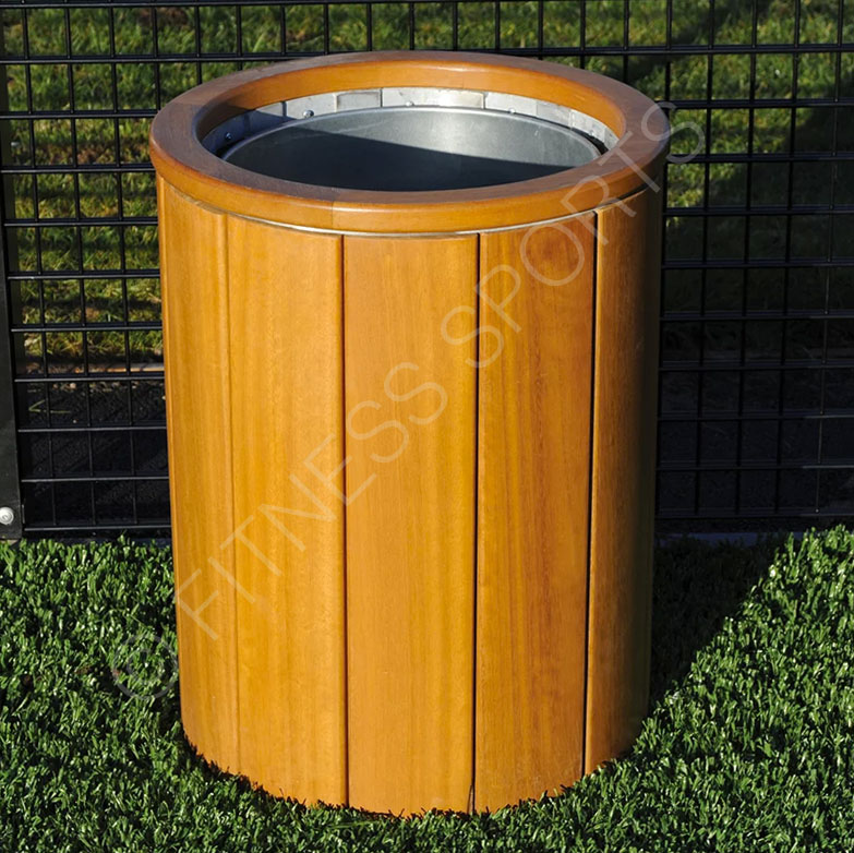 Open Outdoor Wooden Public Litter Bin Fitness Sports