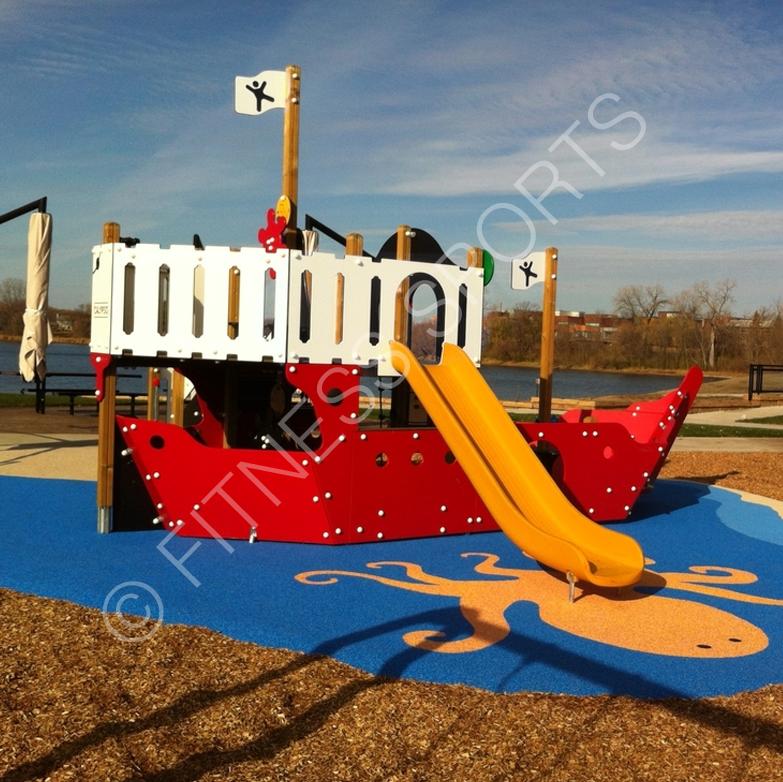 Childrens Junior Pirate Ship Theme Playground Equipment Fitness Sports