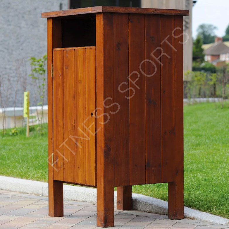 Square Outdoor Wooden Public Litter Bin Fitness Sports