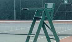 Wooden tennis umpires chair.