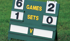 Wooden freestanding manual tennis scoreboard.